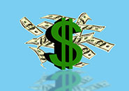 Dollar sign of the USA with currency notes on a blue background